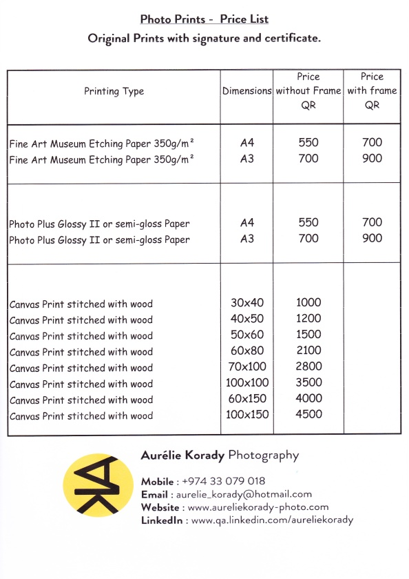Price List - Photo Prints - 2015